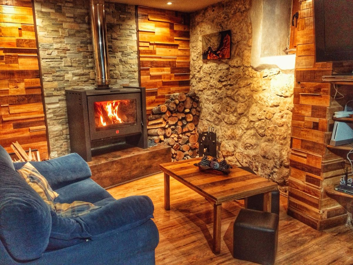 Lounge, cozy fireplace , firewood,